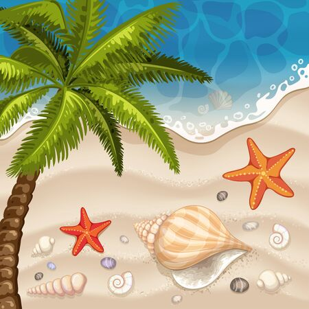 Summer beach background with sea Illustration