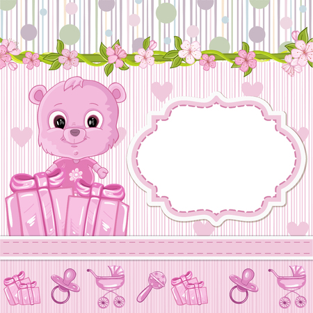 Teddy bear for baby . Baby shower invitation