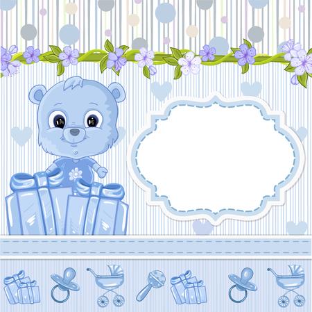 赤ちゃんのクマのぬいぐるみ。ベビー シャワーの招待