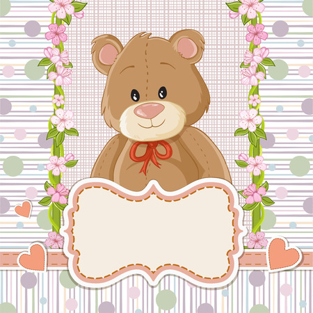 home birth: Teddy bear for baby . Baby shower invitation