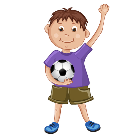 playing soccer: Cute boy playing soccer Illustration