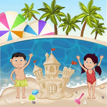sand castle: Illustration of kids making sand castle on sea beach