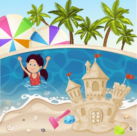 sand castle: Illustration of sand castle on sea beach Illustration