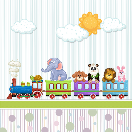 playfulness: Baby shower card with train and animals