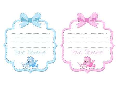 Tarjeta De Invitación Baby Shower Ilustraciones Vectoriales
