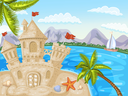 tide: Illustration of a beach with coconut trees and a sand castle