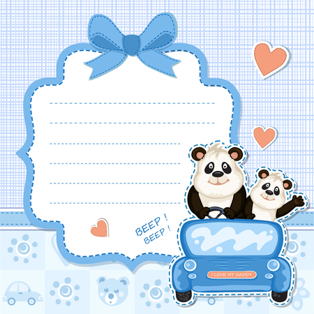 one panda: Daddy and baby panda in a blue car.Baby shower invitation