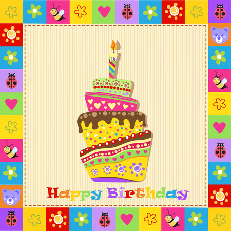 bee party: Happy birthday card with cake