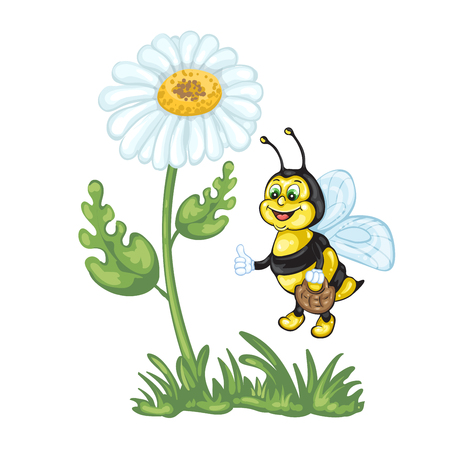 pollinate: Illustration of cute cartoon bee and daisy flower