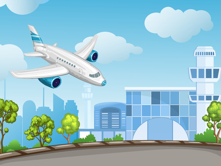 control tower: Illustration of airport ,control tower and flying airplane
