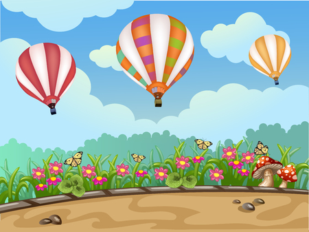 airship: Spring landscape with hot air balloon