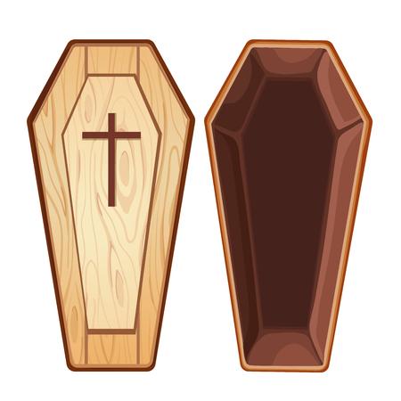 trumna: Illustration with open wooden coffin Ilustracja