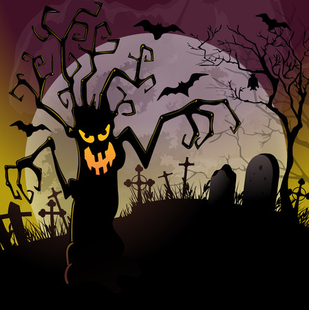 dreadful: Halloween background with a dreadful monsters trees on cemetery