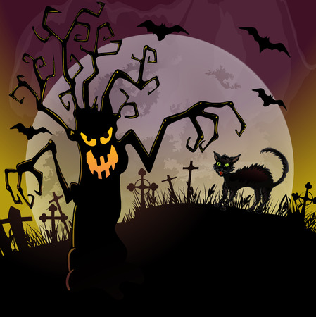dreadful: Halloween background with a dreadful monsters trees and black cat on cemetery