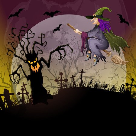 dreadful: Halloween background with a dreadful monsters trees and witch on cemetery
