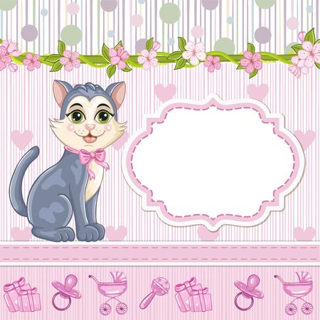 Baby shower invitation for girl with kitten
