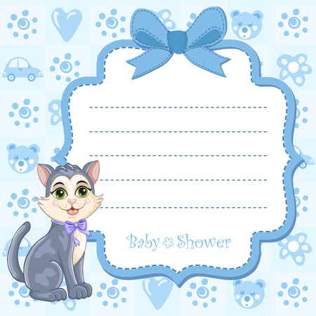 Baby shower invitation for boy with kitten