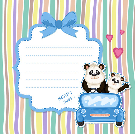 one panda: Daddy and baby panda in a blue car. Baby shower invitation Illustration