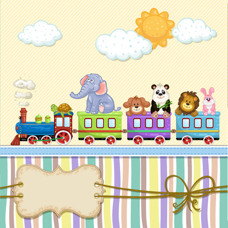 Baby shower card with train and animals