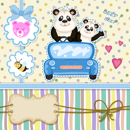 Daddy and baby panda in a blue car. Baby shower invitation Illustration