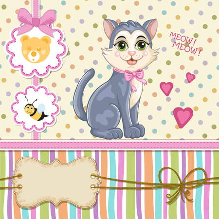 Baby shower invitation with kitten Illustration