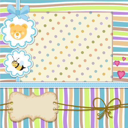 Baby shower invitation . Cute baby invitation with bee and teddy bear