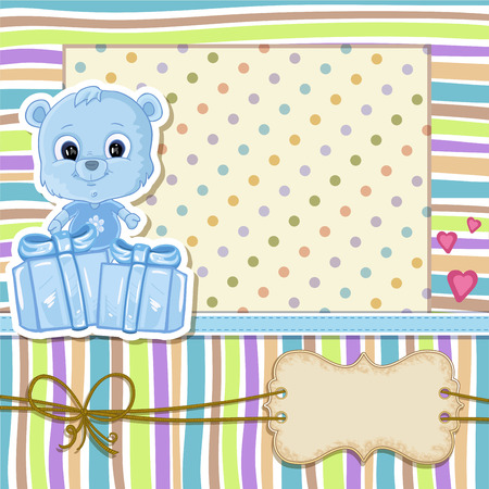 baby bear: Teddy bear for baby boy . Baby shower invitation