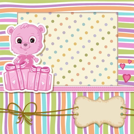 home birth: Teddy bear for baby girl . Baby shower invitation