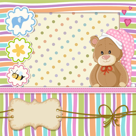 Teddy bear for baby girl . Baby shower invitation