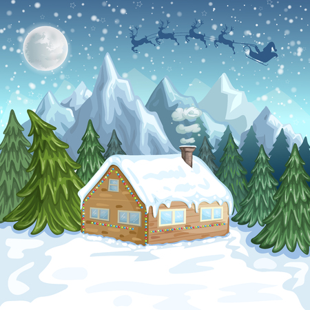 ice slide: Merry Christmas Card. Illustration with Christmas house and Santa Claus in sleigh with reindeer Illustration