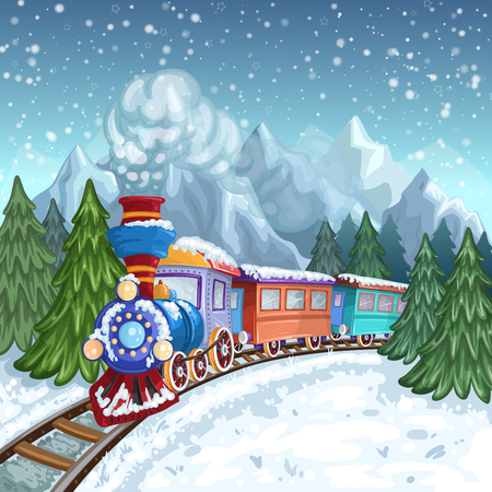 Colorful train with gray smoke and winter landscape with mountains and pine tree Illustration