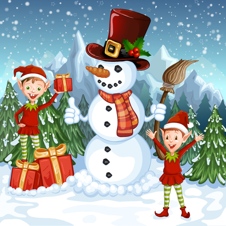 Merry Christmas Card. Illustration with funny snowman and Santas elves