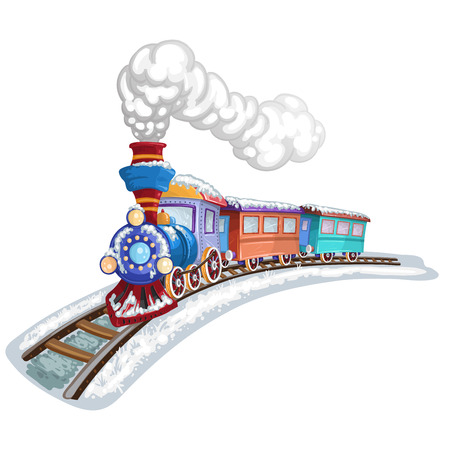 forest railroad: Colorful train covered in snow with gray smoke Illustration