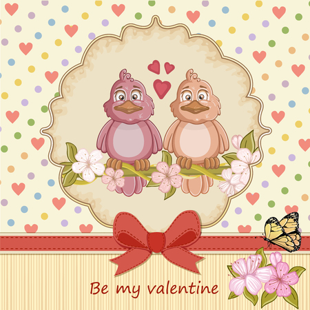two birds: Vintage Valentines day card with two birds love and hearts background