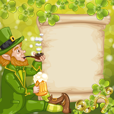 Cute Irish Leprechaun with mugs of green background and old paper for text