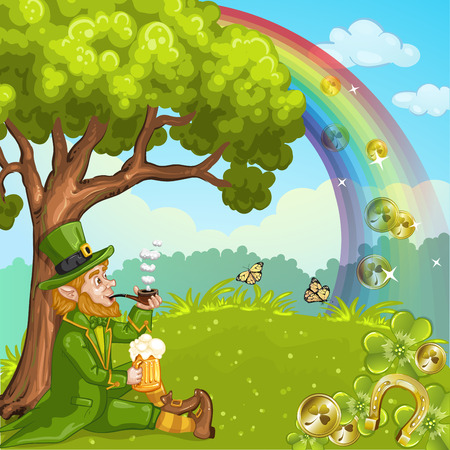 Cute Irish Leprechaun relax under the tree Ilustracja