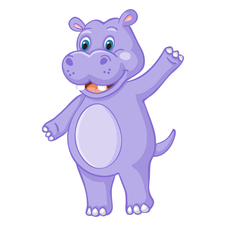 Funny hippo cartoon on white background