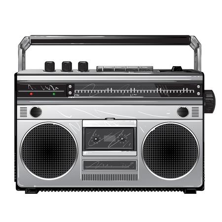 Radio Silver retro radio boom box .Vintage tape recorder for audio cassettes. Retro audio player Illustration