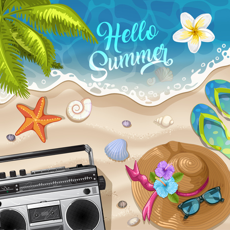 Summer beach background with sea .Summer holidays and beach vacation Illustration