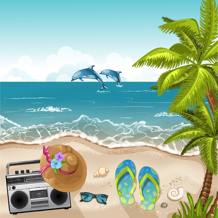 cassette tape: Summer beach background with sea .Summer holidays and beach vacation Illustration