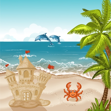 Illustration of crab and sand castle on the beach.