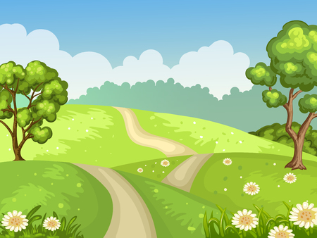 Green field with hills and trees Illustration