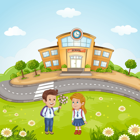 Illustration of students in front of school building