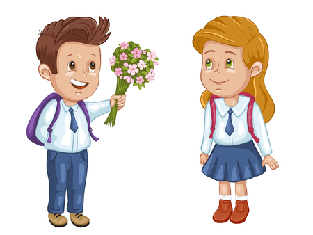 Boy and girl in uniform with school bags Illustration