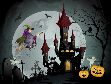 Halloween night scene with spooky castle