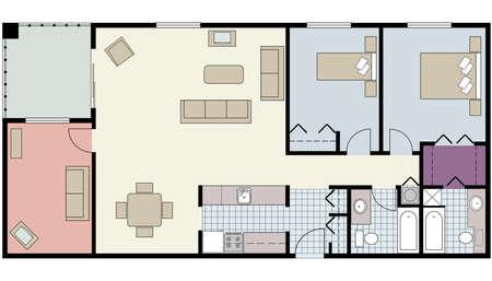 oficina: Vector del plan de piso de dos dormitorios con sala y muebles