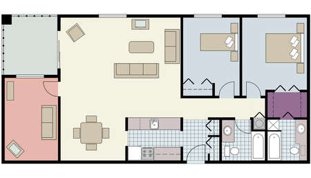 interior plan: Vector of Two-bedroom floor plan with den and furniture