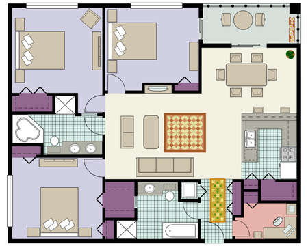 Vector of Three-bedroom floor plan with den and furniture