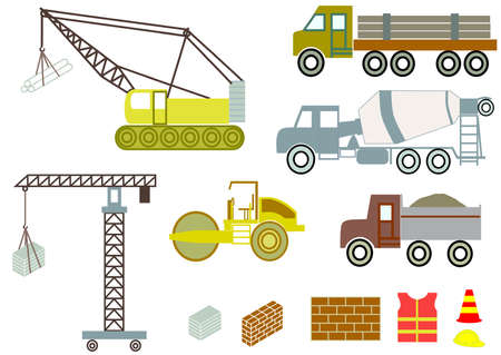 Vector of construction machines, trucks and equipment