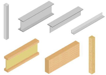 steel structure: Vector of wood and steel elements
